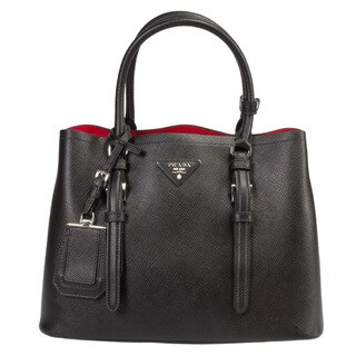 Prada Double Small Black w/Silver Hardware Saffiano Leather Tote