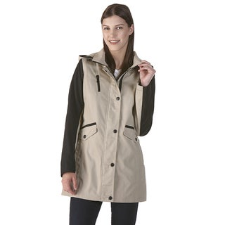 Nuage Poplin Beige Anorak Coat with Zip-off Hood