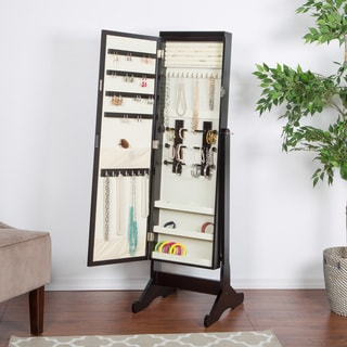 Exceptional Espresso Standing Jewelry Armoire With LED Light