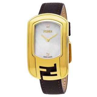 Fendi Women's F303434521D1 'Chameleon' Mother of Pearl Diamond Dial Goldtone Brown Leather Strap Swiss Quartz Watch