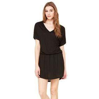 Flowy Women's Black Polyester/Viscose V-neck Dress