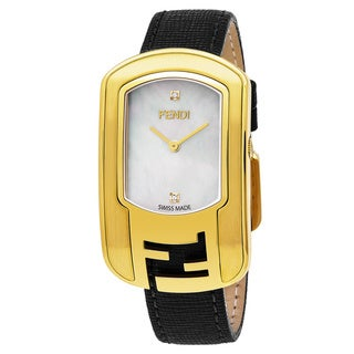 Fendi Women's F303434511D1 'Chameleon' Mother of Pearl Diamond Dial Goldtone Black Leather Strap Swiss Quartz Watch