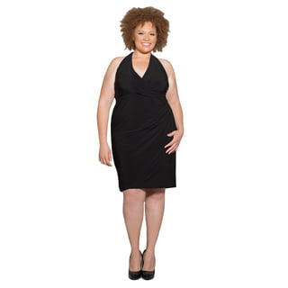 Sealed with a Kiss Women's Plus Size Crystal Halter Dress