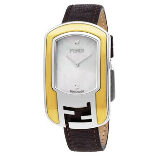Fendi Women's F303134521D1 'Chameleon' Mother of Pearl Diamond Dial Two Tone Brown Leather Strap Swiss Quartz Watch