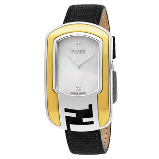 Fendi Women's F303134511D1 'Chameleon' Mother of Pearl Diamond Dial Two Tone Black Leather Strap Swiss Quartz Watch