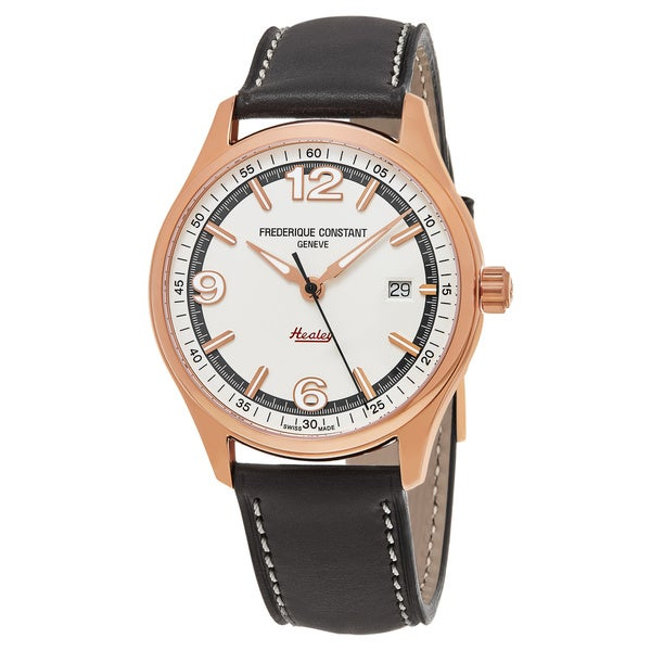 Frederique Constant Men's 'Vintage Rally' Silver Dial Grey Leather Strap Limited Edition Swiss Automatic Watch