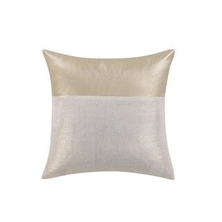 Vince Camuto Lille Metallic Gold/Off-white Faux Leather/Linen 14-inch x 14-inch Throw Pillow
