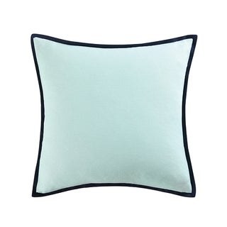 Vince Camuto Goa Blue Cotton 20-inch Square Textured Flange Throw Pillow