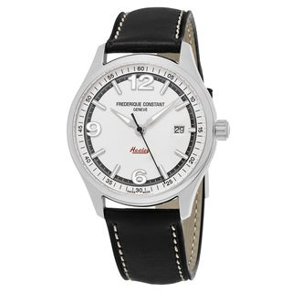 Frederique Constant Men's FC-303WGH5B6 'Vintage Rally' Silver Dial Black Leather Strap Limited Edition Swiss Automatic Watch