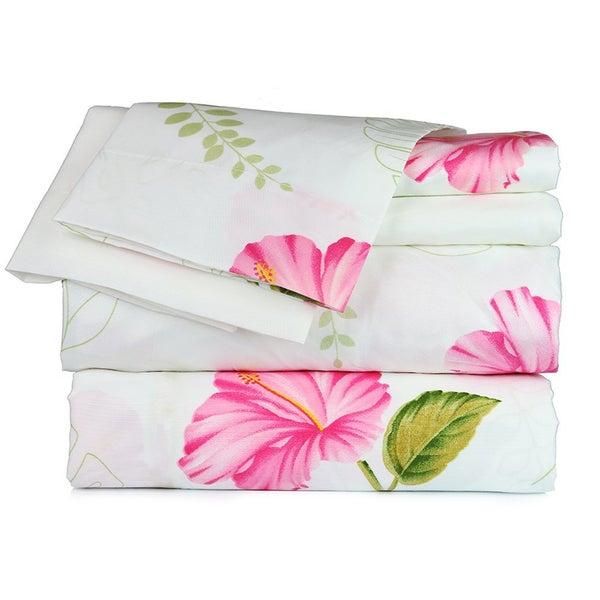 White Floral Sheet Set