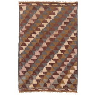 Herat Oriental Afghan Hand-woven Mimana Wool Kilim (3'5 x 5')