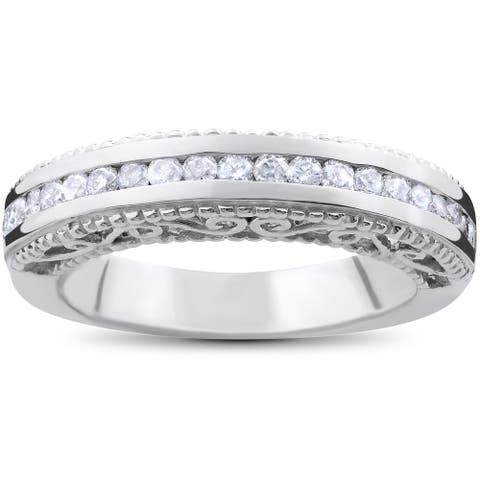 14k White Gold 1/2ct TDW Vintage Heirloom Diamond Wedding Ring