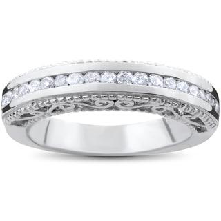 14k White Gold 1/2ct TDW Vintage Heirloom Diamond Wedding Ring (I-J,I2-I3)