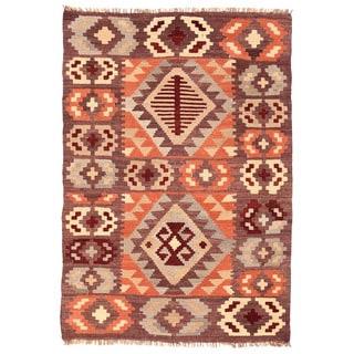 Herat Oriental Afghan Hand-woven Mimana Wool Kilim (3'7 x 5'3)