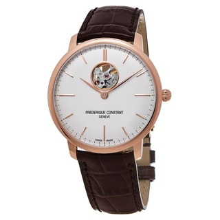 Frederique Constant Men's FC-312V4S4 'Slim Line' Silver Dial Brown Leather Strap Swiss Automatic Watch
