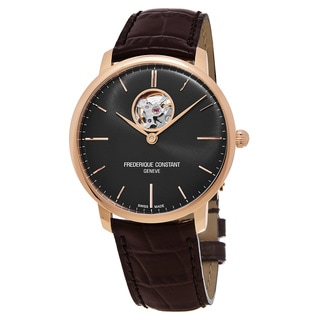 Frederique Constant Men's FC-312G4S4 'Slim Line' Black Dial Brown Leather Strap Swiss Automatic Watch