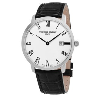 Frederique Constant Men's FC-306MR4S6 'Slim Line' Silver Dial Black Leather Strap Swiss Automatic Watch