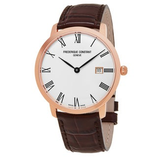 Frederique Constant Men's FC-306MR4S4 'Slim Line' Silver Dial Brown Leather Strap Swiss Automatic Watch