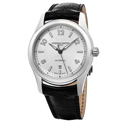 Frederique Constant Men's 'Run About' Silver Dial Black Leather Strap Limited Edition Swiss Automatic Watch