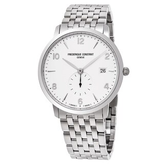Frederique Constant Men's FC-245SA5S6B 'Slim Line' White Dial Stainless Steel Small Seconds Swiss Quartz Watch