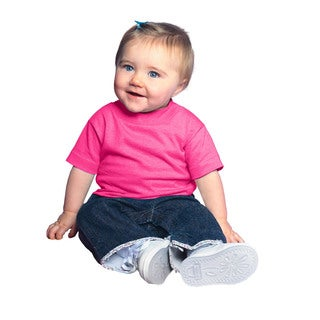 Hot Pink Cotton 5.5-ounce Infant Short Sleeve Jersey T-shirt (4 options available)