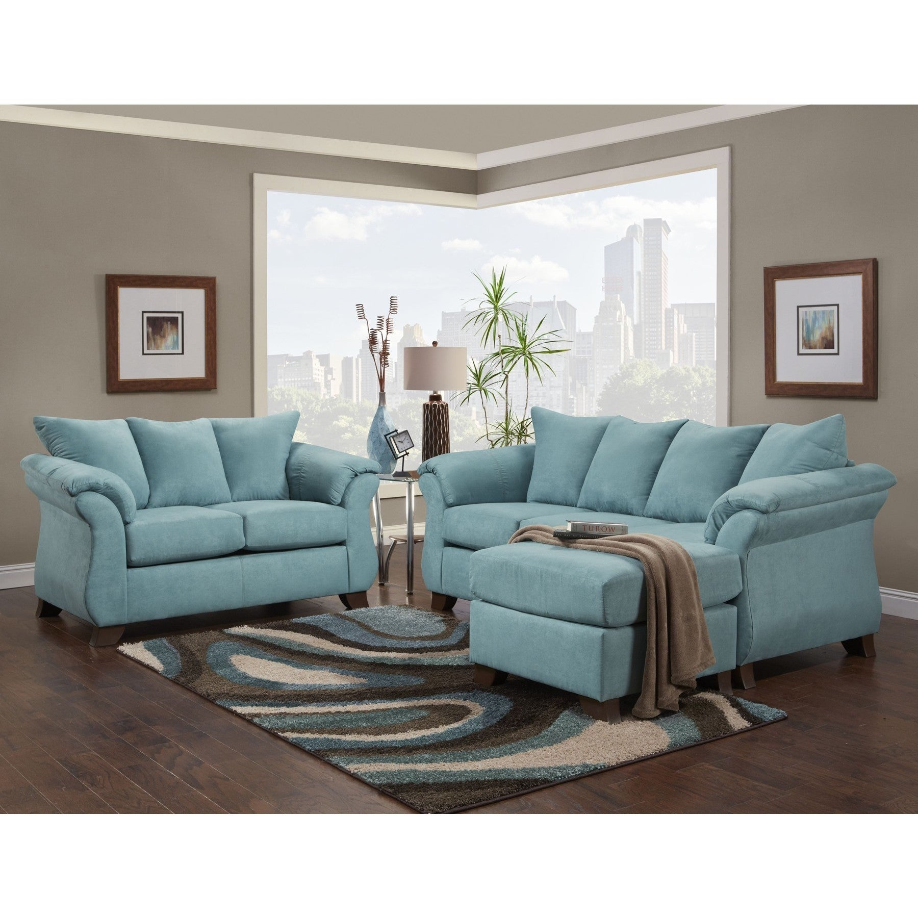 Sofa Trendz Cailyn Sofa/ Chaise, Blue (Polyester Blend)