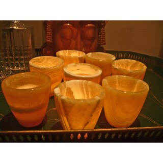 Handmade Set of 8 Flower Pot Votives (Egypt)