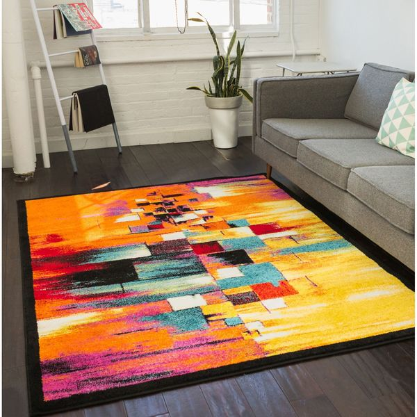Midcentury Modern Rug: Shop Well Woven Modern Squares Mid Century Multi Area Rug
