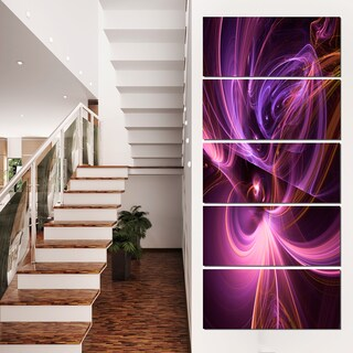 Purple Fractal Light Art in Dark - Abstract Large Abstract Art Canvas Print