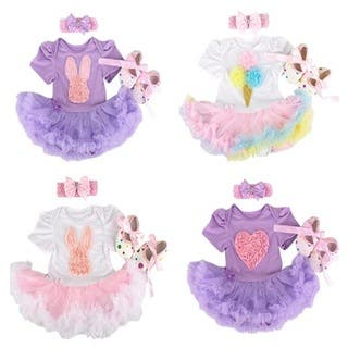 Girls' Polyester/Cotton Ruffled Tutu Dress Set