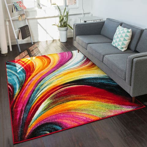Well Woven Modern Bright Waves Abstract Yellow Multi Area Rug - 7'10 x 9'10