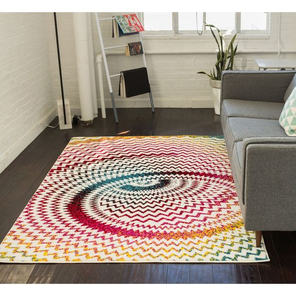 Well Woven Modern Bright Chevron Abstract White Multi Area Rug - 7'10 x 9'10
