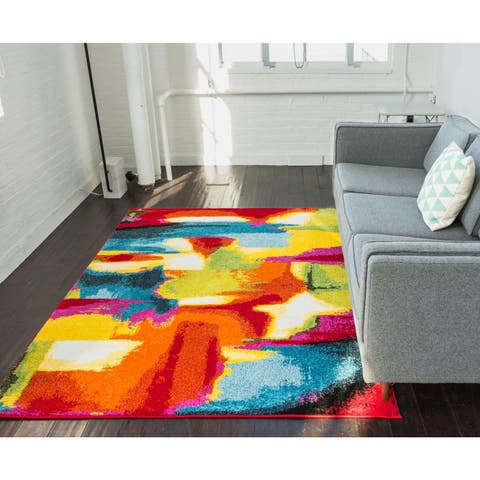 Well Woven Modern Pain Bohemian Bright Multi Area Rug - Red - 5'3 x 7'3