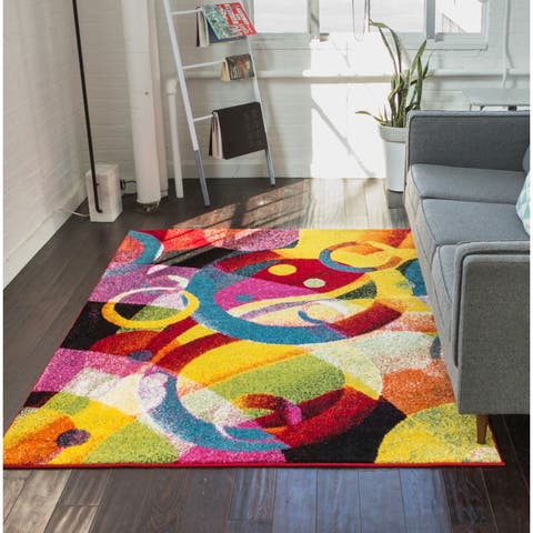 "Well Woven Modern Circles Shapes Mid-Century Multi Area Rug - 5'3"" x 7'3"""