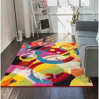Well Woven Modern Circles Shapes Mid-Century  Multi Area Rug (5'3 x 7'3)