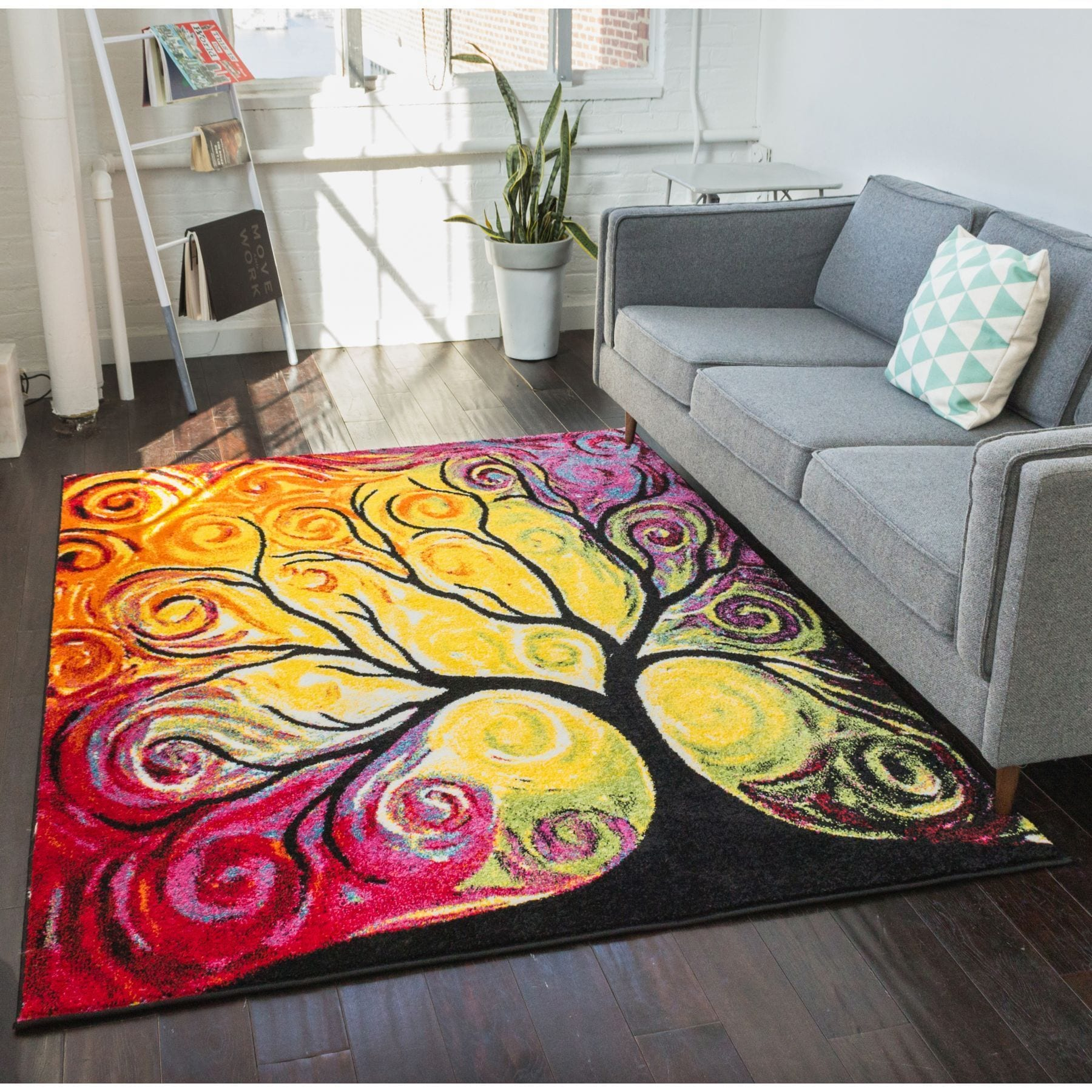 Well Woven Modern Bright Tree Abstract Multi Kids Rug (5'...