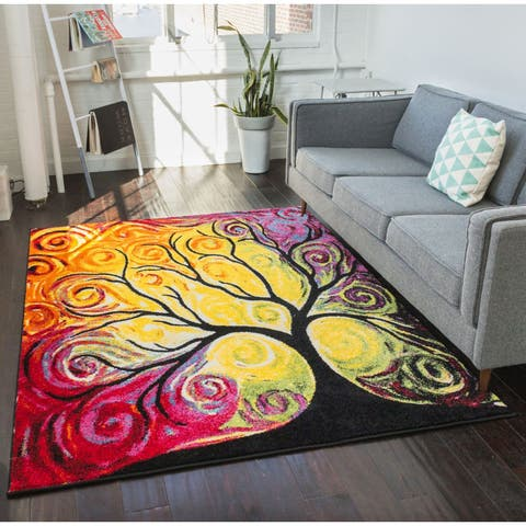 "Well Woven Modern Bright Tree Abstract Multi Kids Area Rug - 5'3"" x 7'3"""
