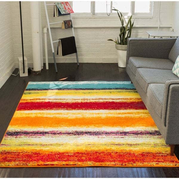 Well Woven Modern Stripes Abstract Blue Multi Area Rug - 7'9 x 9'9