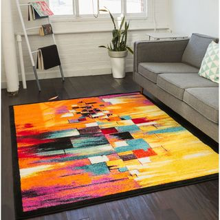 Well Woven Modern Squares Mid-Century Multi Area Rug (5'3 x 7'3)