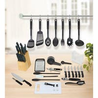 Studio 707 Black Plastic and Stainless Steel 51-Piece Kitchen Essentials Set