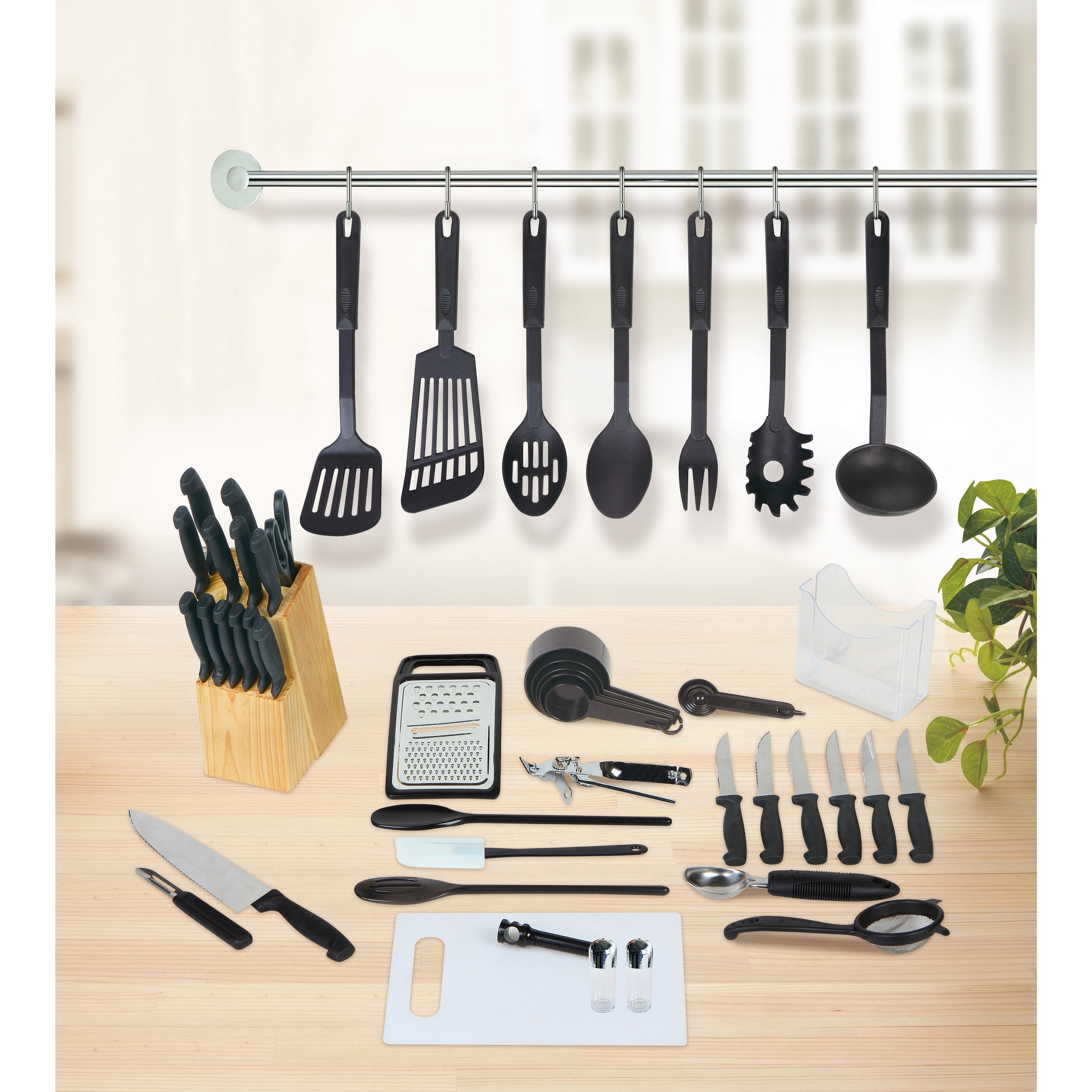 Shop Studio 707 Black Plastic And Stainless Steel 51 Piece Kitchen