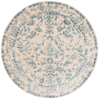 Lucca Floral Ivory/ Aqua Rug (9'6 x 9'6 Round)
