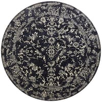 Lucca Floral Black/ Ivory Round Rug - 9'6 x 9'6