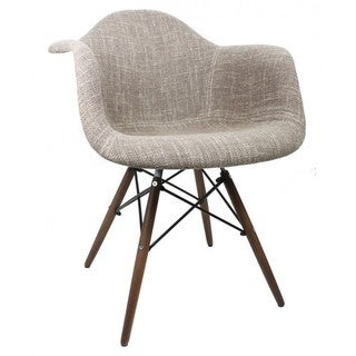 Brown Woven Fabric style Retro Dining Armchair with Dark Wood Eiffel Legs