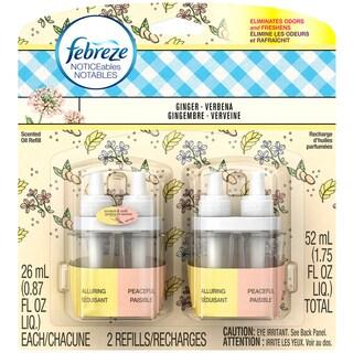 Febreze Noticeables Dual-scented Refills, Ginger and Verbena, 2 Total Refills