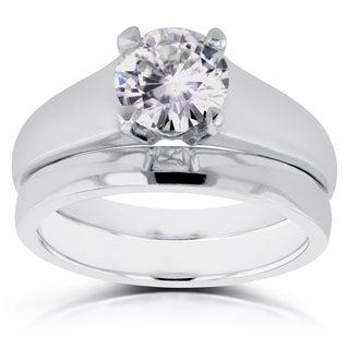 Annello by Kobelli 14k White Gold 1ct Round Diamond Solitaire Bridal Set