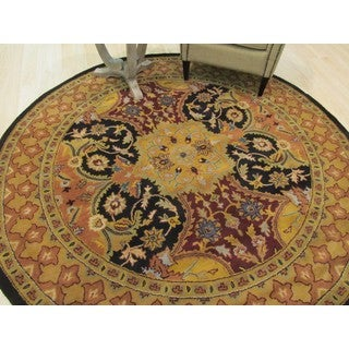 Eastern Oriental Rug Center Hand Tufted Wool Black Polonaise Rug (7'9 Round)