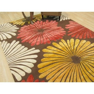 Hand-tufted Wool & Viscose Brown Transitional Floral Sunflower Rug (7'9 x 9'9)