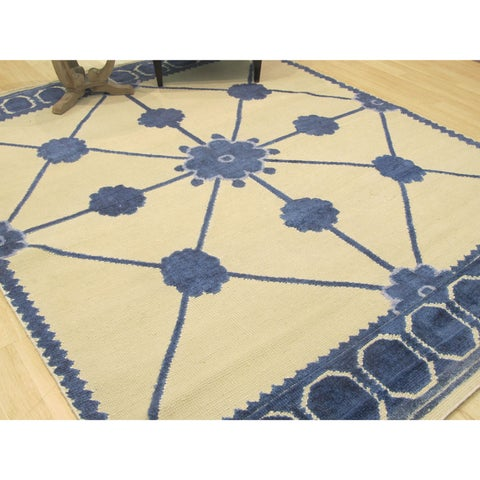 Hand-knotted Bamboo Silk Ivory Transitional Lattice Lattice Rug - 8' x 10'