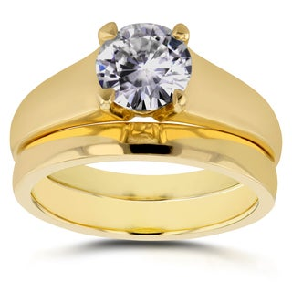 Annello by Kobelli 14k Yellow Gold 1ct Round Diamond Solitaire Bridal Set